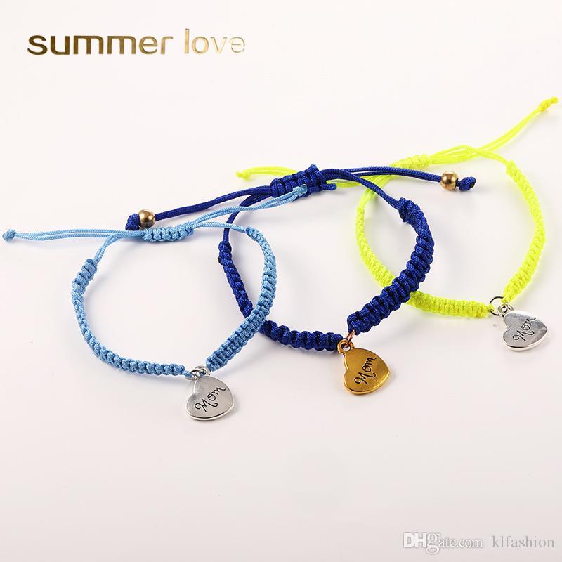 Neue Ankunft Hanmade Woven Wax String Herz Mom Anhänger Armband Für Frauen Mutter Mode Glück Seil Gold Silber Überzogene Braid Armband