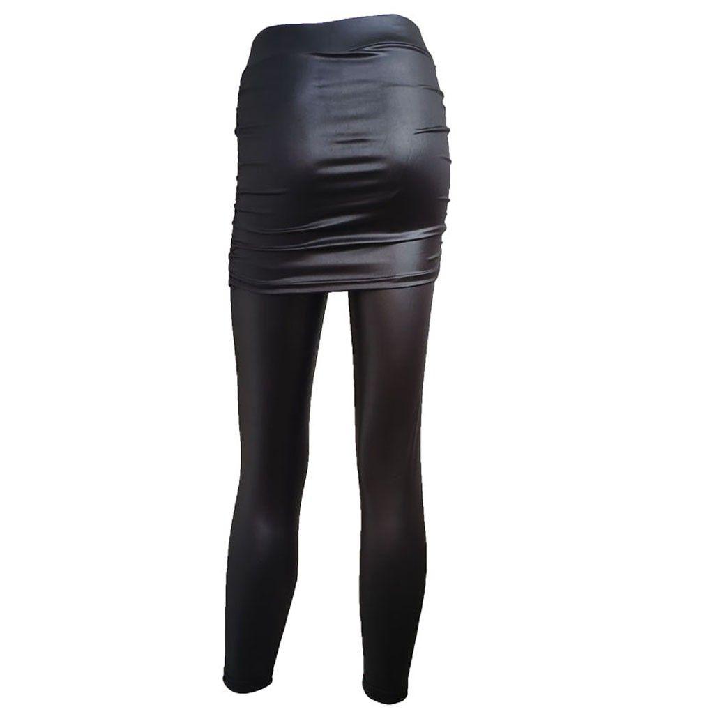 JAYCOSIN Etek Katı Renk Deri Mini Etekler Kadın Deri Kalça Etek Yan Buruşuk Etek Stretch Slim Pant ile Mini Etekler