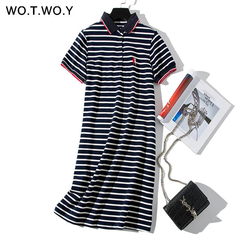 Wotwoy 2019 Striped Cat Embroidery Dresses Women Summer Long Turn-down Collar Casual Knee-length Dress Woman Plus Size Clothes Y19050805