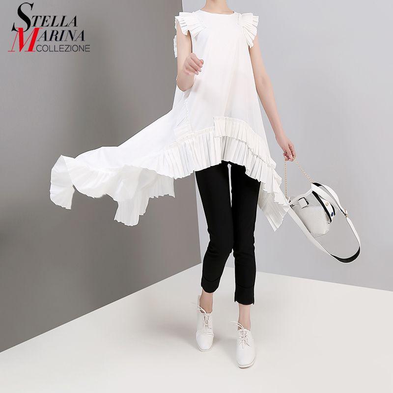 Новый 2019 европейская мода лето женщины сплошной белый нерегулярные тройник топ без рукавов оборками подол девушки хиппи шик футболка стиль 3659