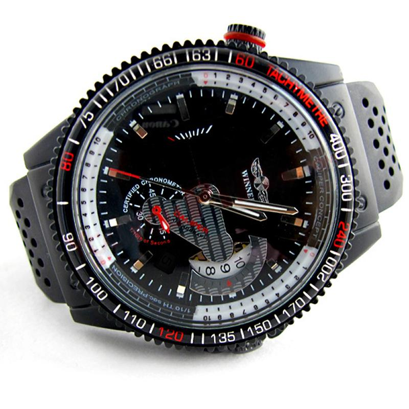 Black Rubber Skeleton Automatic Sport Watches Winner Fashion Calendar Mechanical Luxury Clock Business Army Military Watch C19041101