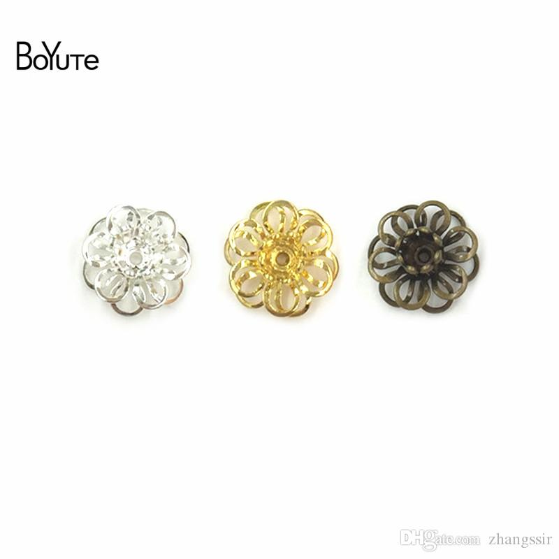 BoYuTe (50 Pieces/Lot) Metal Brass 12MM Filigree Flower Bead Caps Diy Hand Made Accessories for Hair Jewelry Making