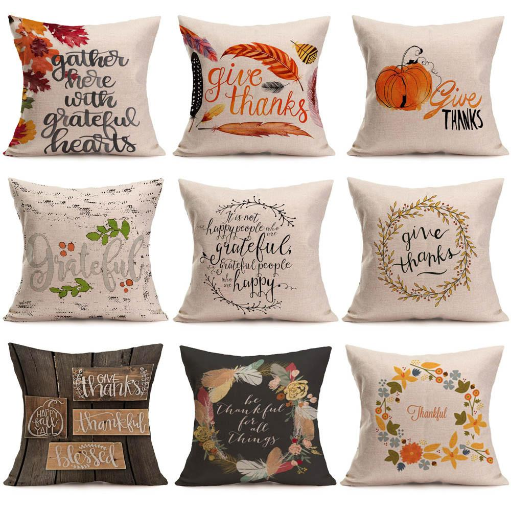 Frohes Neues Jahr Pillowcase1 pc Kissenbezug Happy Fall Thanksgiving Day weiches Leinen Kissenbezug Kissenbezug Home Decor G801