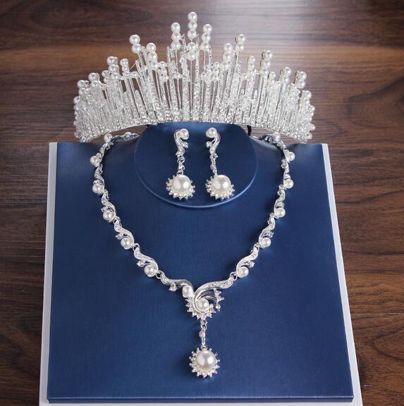 هدية الحزب الأكثر مبيعا الزفاف ولي العهد أقراط قلادة ثلاث قطع مصمم لؤلؤي الأبيض المتأنق حزب اليدوية + صندوق