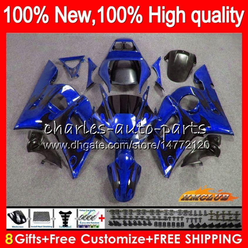 Комбинезоны для Yamaha YZF600 черное пламя и YZF-600 600CC и YZF-R6 в р 6 и YZF R6 в 58HC.41 YZF 600 YZFR6 98 99 00 01 02 1998 1999 2000 2001 2002 обтекатель