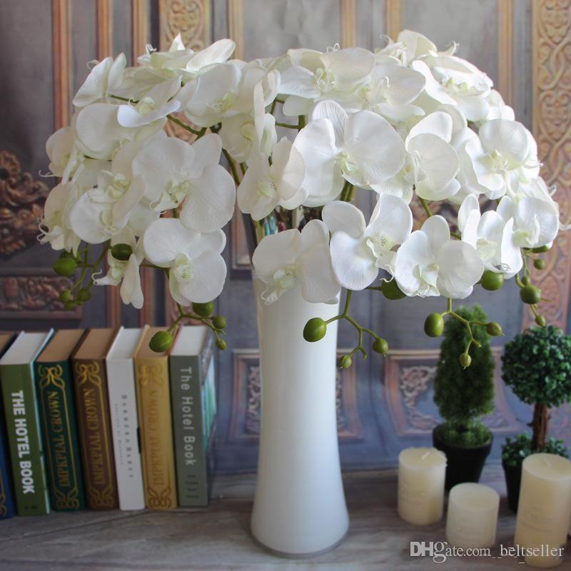 """78CM / 30.71 """"زهور الصرفة الفراشة الاصطناعي البيضاء الأوركيد زهرة الحرير فالاينوبسيس الزفاف الرئيسية DIY الديكور وهمية"""