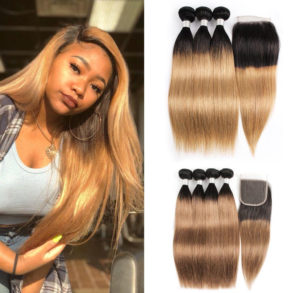 Kiss Hair 1B 27 Ombre Honey Blonde 1B 30 Straight Ombre Human Hair Weave 3/4 Bundles with Closure Brazilian Virgin Remy Hair