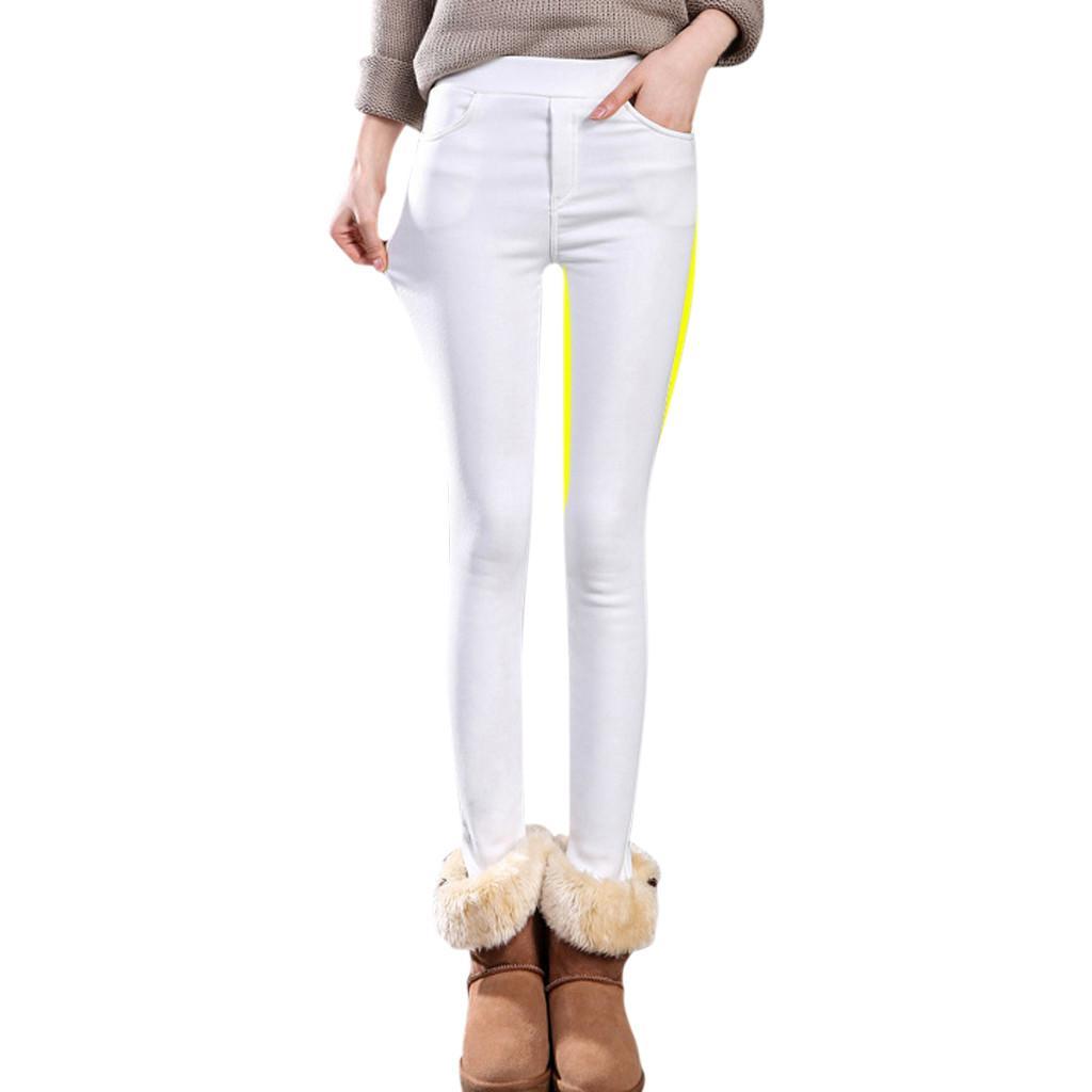 Plus Size Women Plus Velvet Thicken Solid Pencil Pants Trousers Pocket Jeggings Push Up Leggings High Waist Warm Street Wear