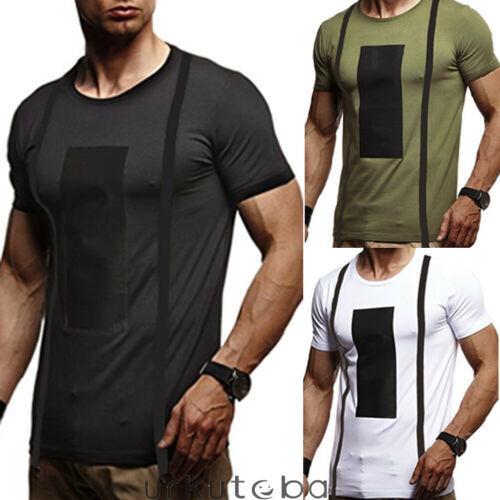 2019 nuevos del verano de los hombres del algodón completa Deporte gimnasio del remiendo delgado de la camiseta de manga corta T-causal S-2XL Tops musculares