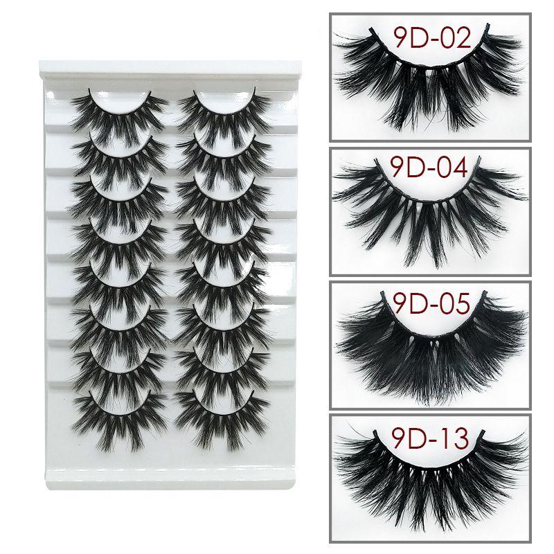 العين مختلطة جديدة ثلاثية الأبعاد 9D الرموش الطبيعية لفترة طويلة سميكة الرموش جلدة أدوات ماكياج الجمال 8pairs