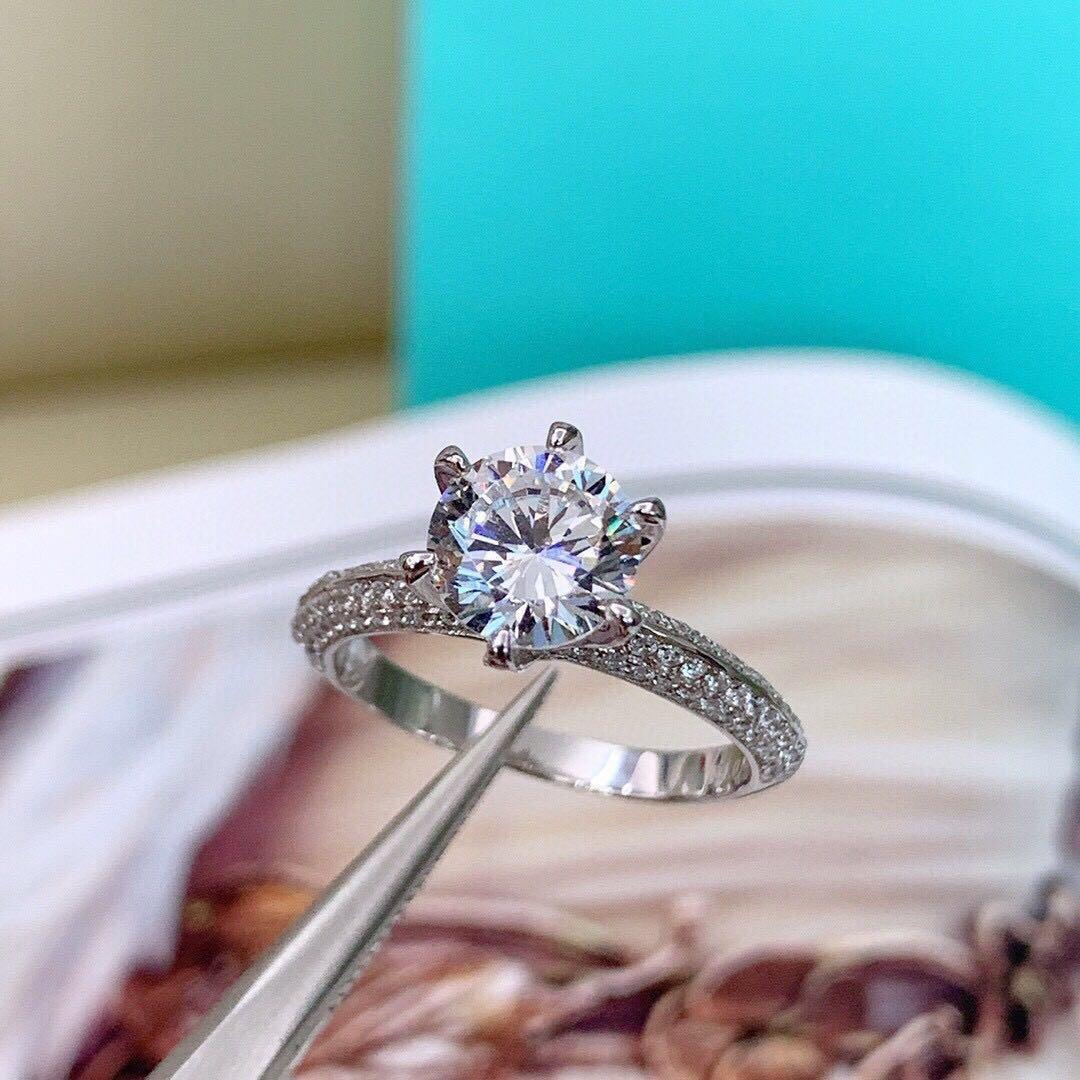 LOGO ve orijinal kutusu 925 gümüş tasarımcısı ile Elmas aşk bague kadın nişan düğün setleri lüks takı hediye HB evlenmek yüzük
