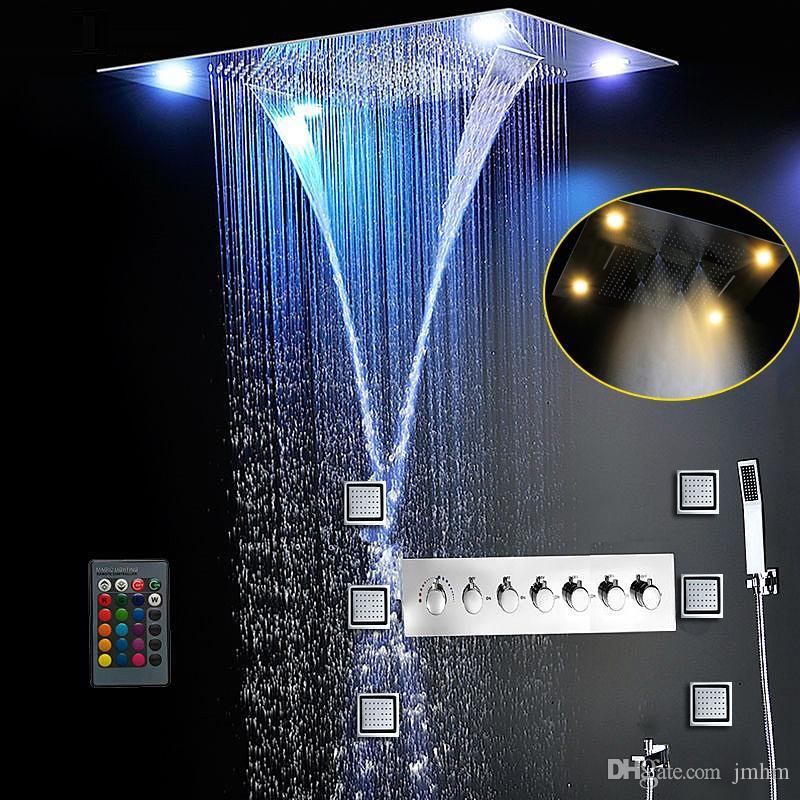 Mais completa chuveiro 6 Funções de luxo Sistema de Bath Grande Cachoeira dupla Chuva Misty Oculto teto Chuveiro Massagem termostáticas