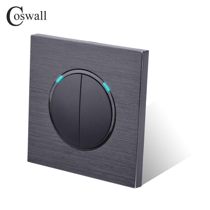 LED Gösterge koyu siyah Alüminyum Panel ile Coswall lüks 2 Gang 2 Yollu Rastgele tıklayın Düğmesi Duvar Işık Anahtarı
