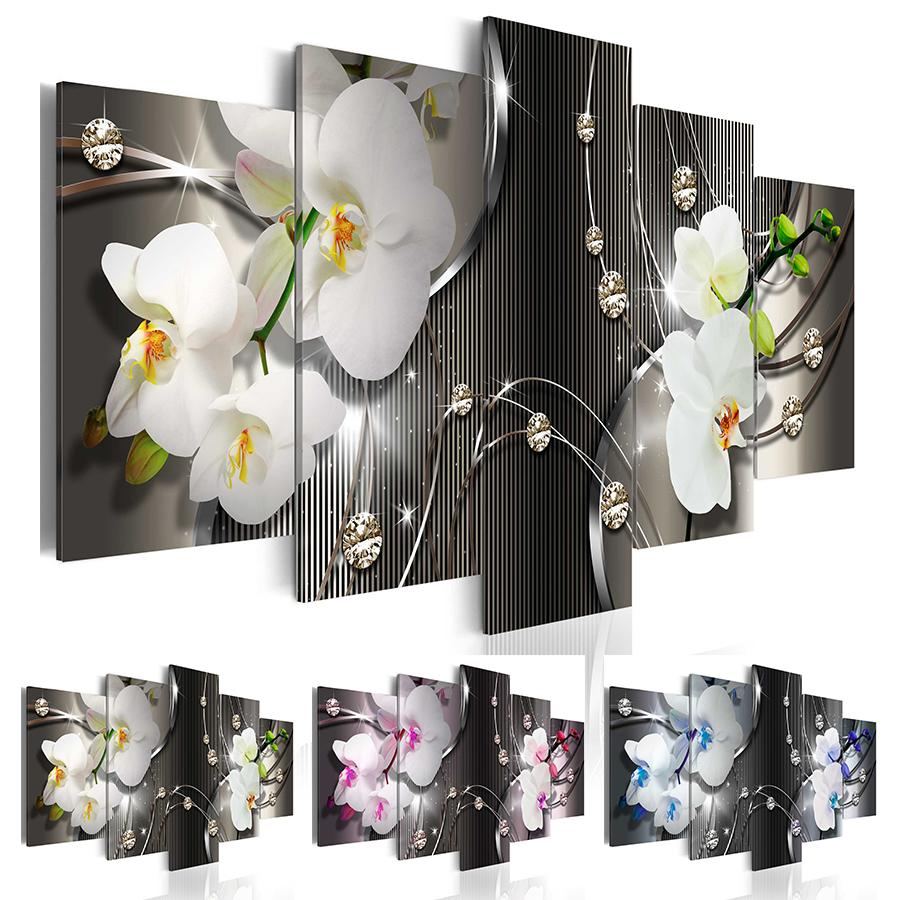 (프레임 없음) 다이아몬드 난초 캔버스 인쇄 현대 추상 꽃 꽃 예술 그림 홈 장식 선물 사랑, 선택