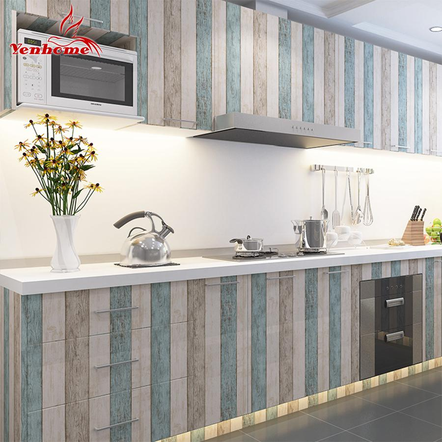 3m/5m/10m Waterproof Vinyl Wall Stickers Self Adhesive Wallpaper Roll Furniture Decorative Film Kitchen Cabinet Wardrobe Sticker Q190531