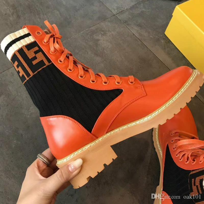 Новый Мартин сапоги осенние и зимние вязаные эластичные сапоги толстые с шнурках мотоциклетные сапоги мода обувь