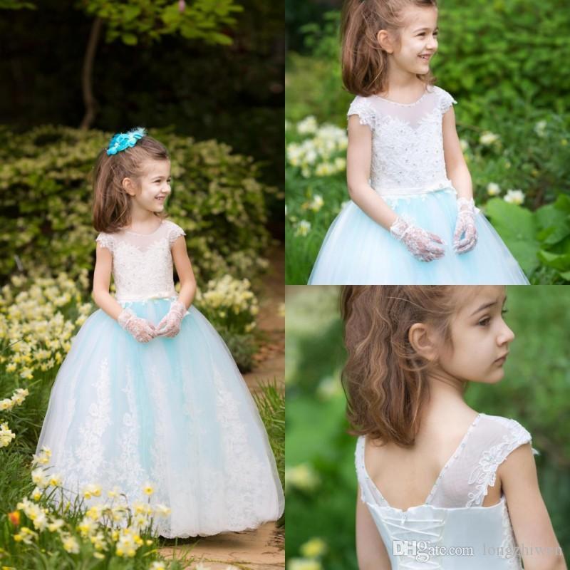 2020 bonito Flor Meninas Vestidos Jewel manga curta apliques de strass Lace A Line Prom Vestidos Tamanho do Joelho Kids Wear Formal