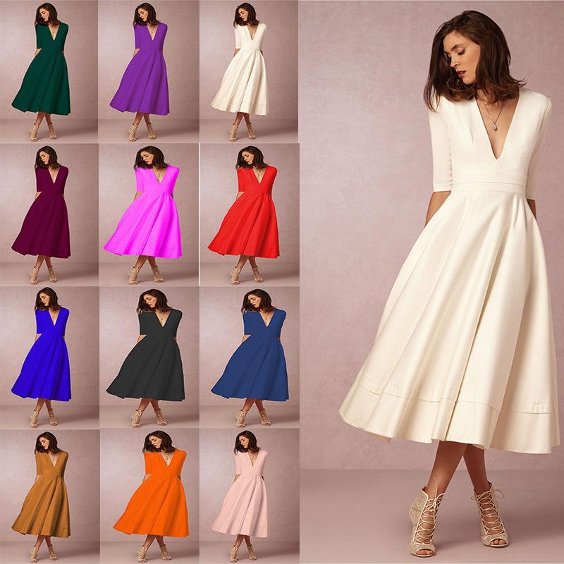 Winter-Herbst-Kleid-Frauen 2019 beiläufige Weinlese-elegante reizvolle tiefe V-Ausschnitt Ballkleid Langes Kleid Plus Size Weiß Schwarz Rot vestidos