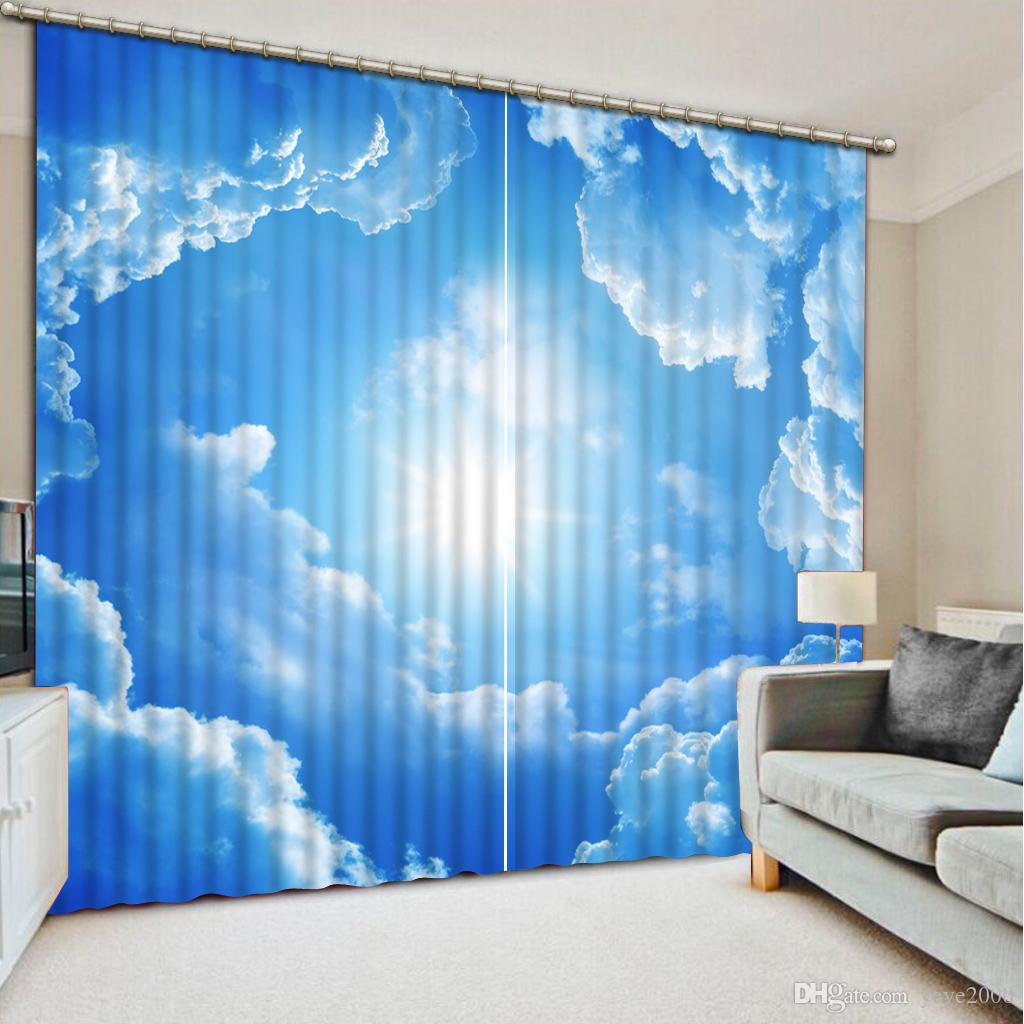 2019 Beautiful Blue Sky And White Clouds Curtain Luxury Blackout 3d Window Curtains For Living Room Bedroom Drapes Cortina Customized Size From