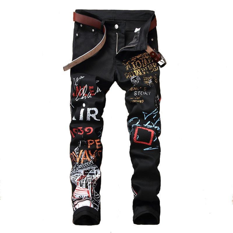 Designer de Homens Outono jeans rasgado Buraco Calças Designer Pattern Moda Pants Hetero Denim mediana Zipper jeans longo