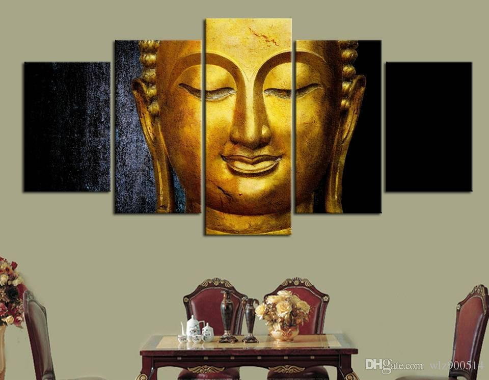 Wall Art Canvas Pictures Modular 5 Pieces Gold Buddha Paintings Kitchen Restaurant Decor Living Room HD Printed Poster No Frame