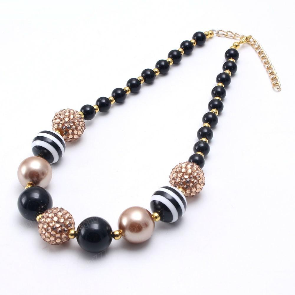 Kids Boys Chunky Beads Necklace Fashion Black Color Bubblegum Necklace Child Baby Chunky Necklace Jewelry For Gift