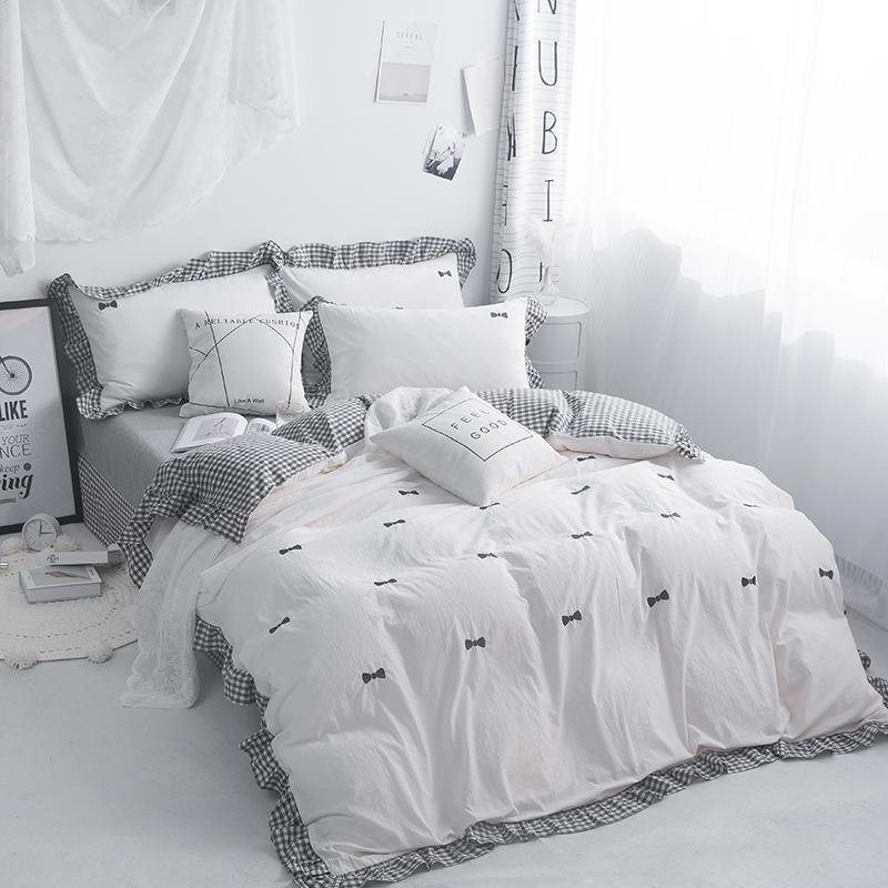 Embroidery Grey Pink White 100 Cotton, Grey Queen Size Bed Sets