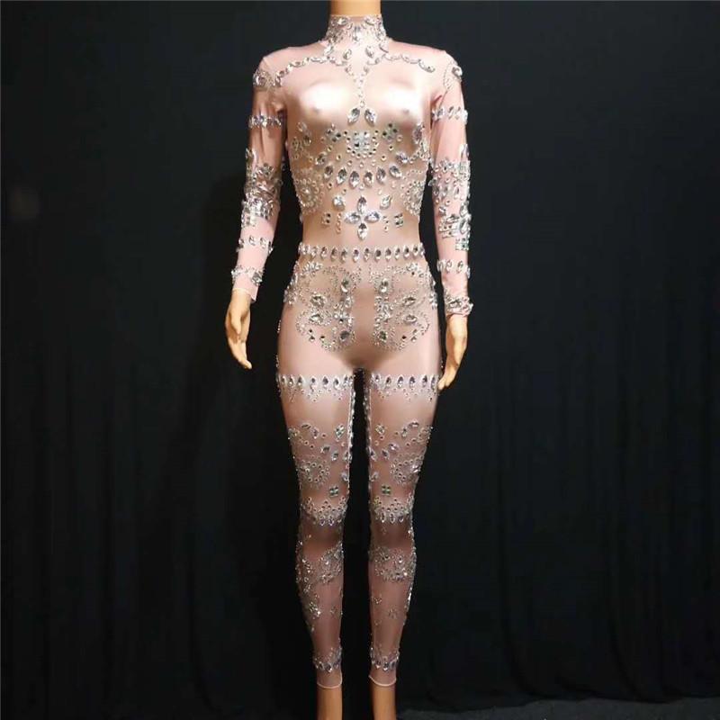E97 Ballroom dança sensuais trajes Rhinestone macacão feminino dj desempenho cantor show de roupas vestir bar nu vestido de festa usa modelo veste