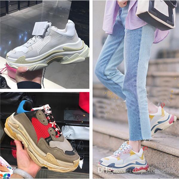 Balenciaga Triple-S shoes Luxury Brand diseño Zapatillas de plataforma baja Triple S Hombres Casual Mujer diseñador casual Deportes Entrenadores zapatos