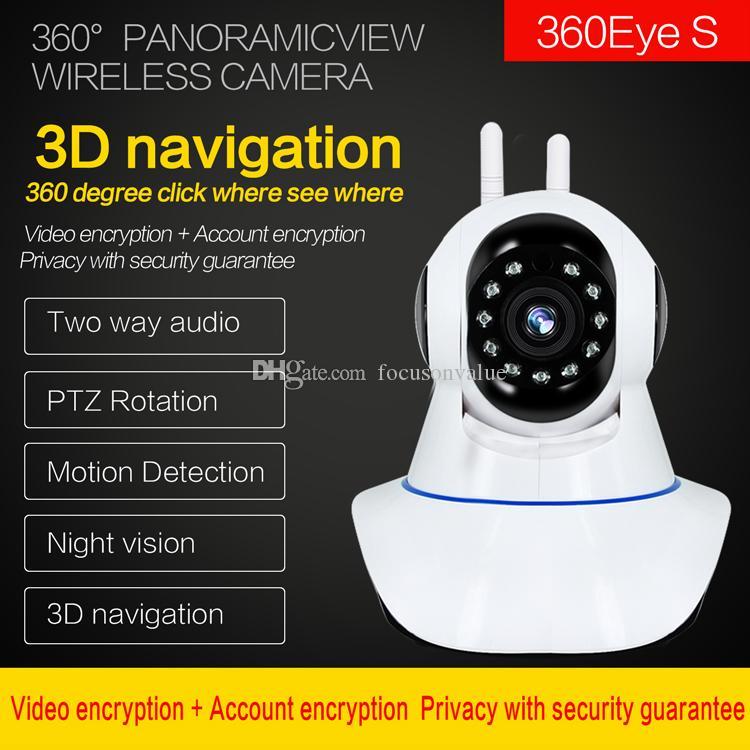 1080P المزدوج Antanne واي فاي لاسلكي IP كاميرا 360 درجة الرئيسية بانورامي للرؤية الليلية مسجل فيديو بالداخل securiey كاميرا CCTV المراقبة