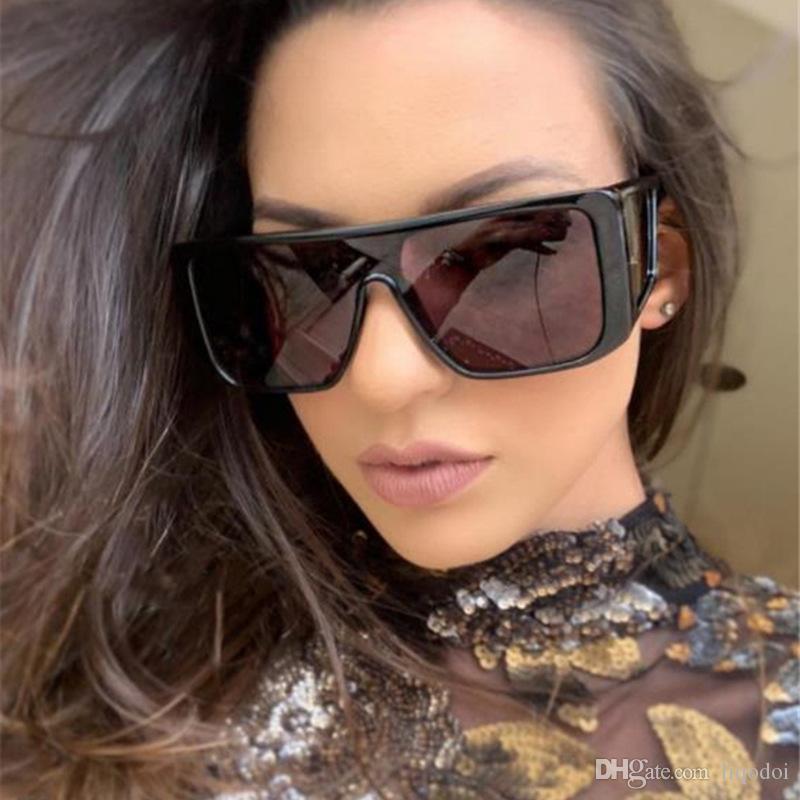 Gafas de Sol en cuadratura de marca Diseño de sol de la manera hombres de las mujeres de gran tamaño cuadrado de la vendimia UV400 Sombras Gafas Anteojos
