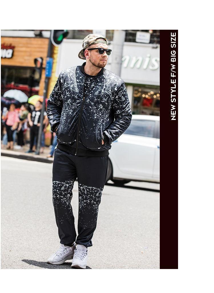 set tuta moda whosale per gli uomini grassi stampa vestiti in esecuzione abiti sportivi di sport abito giacca + pantaloni mette gli uomini più il formato L-7XL 2pcs