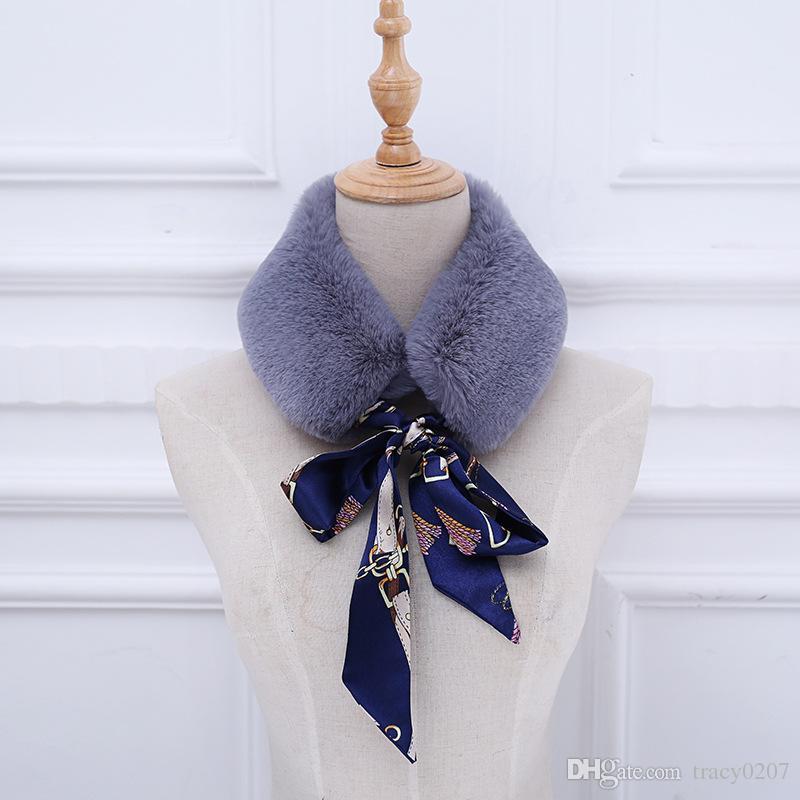 Cuello de piel sintética Bufanda de invierno Mujeres imitación de punto Rex Piel de conejo con pañuelos de seda Pañuelo de piel Abrigos largos de invierno 8 colores