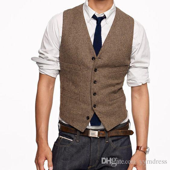 2019 Vintage Brown sposo gilet di lana a spina di pesce Tweed Mens Suit Gilet Slim Fit Dress Vest Mens su ordinazione panciotto Wedding Gilet In magazzino