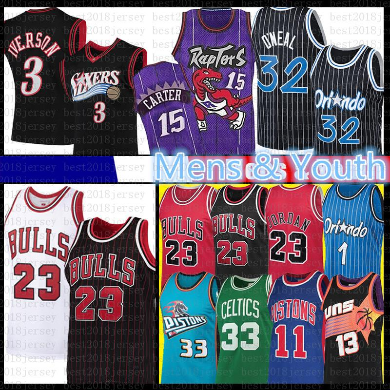 Vince 23 Michael Allen Carter 3 Larry Iverson Uccello pallacanestro Jersey di Grant Hill Isiah Thomas Penny Hardaway Shaquille O'Neal Steve Nash Bull