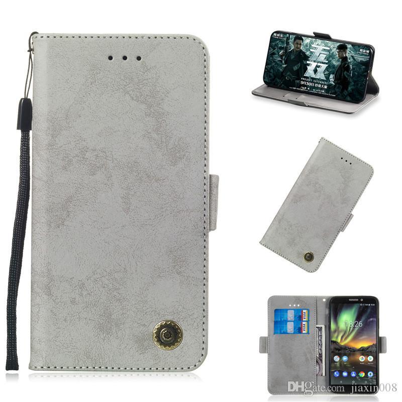 Откидная подставка для Nokia X6 / Nokia 6.1 Plus / Nokia 6.1 2018 Case Pure Retro кожаный чехол дизайн телефон сумки слот для карт