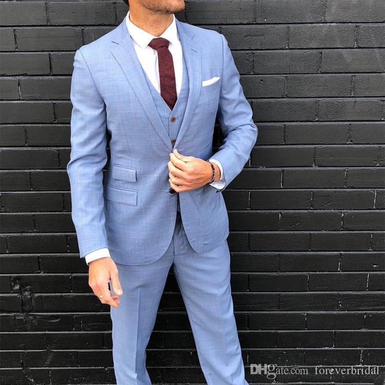 Linen Mens Wedding Tuxedos 2019 New Spring Summer 3 Pieces Groom Pants Suits Two Button Formal Best Men Jackets Blazer Suits