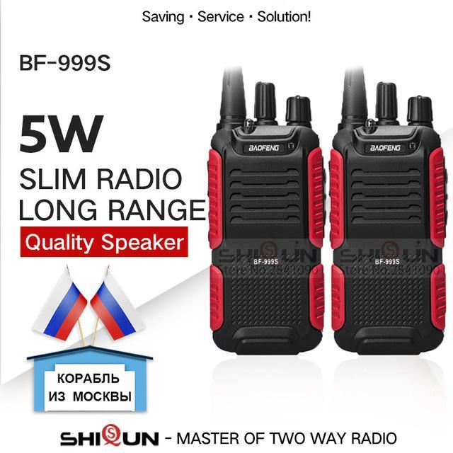 Walkie Talkie 2PC Baofeng BF-999S Plu Walkies banda UHF livello militare a due vie radio ricetrasmittente per sicurezza, hotel, prosciutto BF999s aggiornamento e 888s