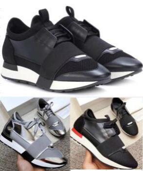 Moda Sneaker Homens Mulheres Sapatos casuais couro genuíno malha pontas Raça Runner sapatos ao ar livre formadores com caixa grande 24