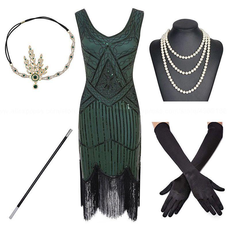 20s Aksesuar Seti xs 1920'lerin Artı boyutu Gatsby Pullu Saçaklı Elbise Paisley Art Deco Sineklik Kol Elbise, s, l, m, XL, XXL