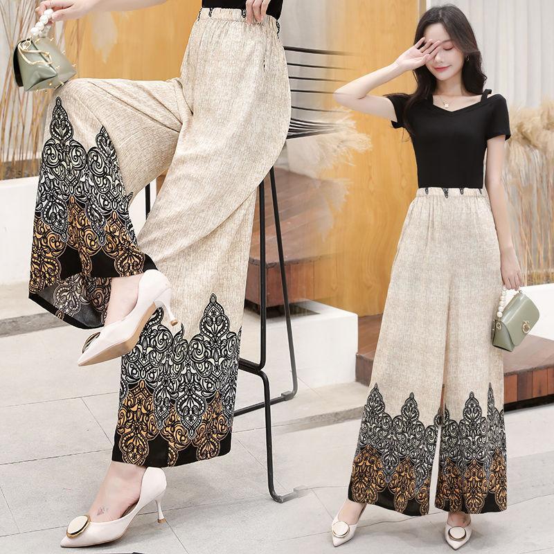 modo delle donne pantaloni larghi del piedino 2020 elastico in vita casuale di estate a vita alta di stampa slacciano i pantaloni pantaloni corti F183