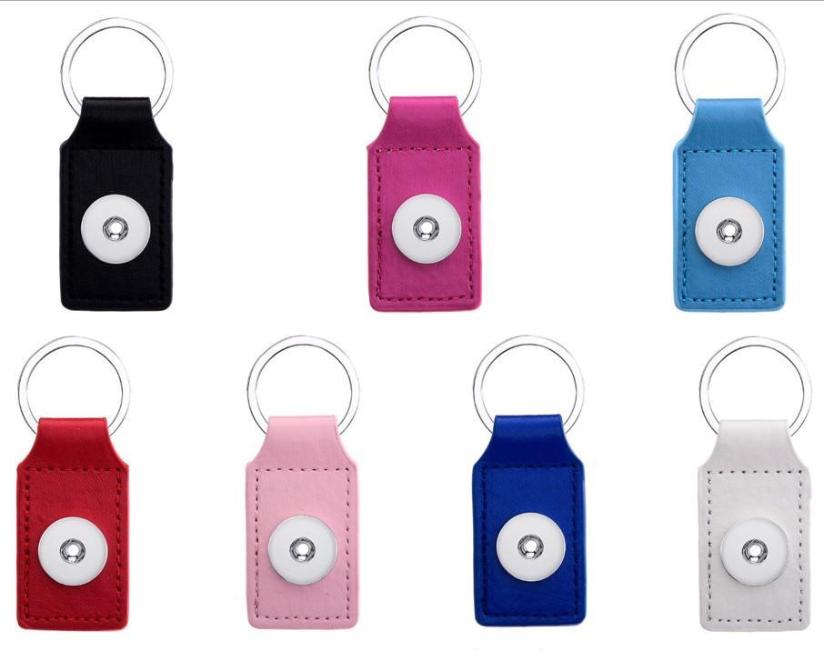 Moda PU Deri Anahtarlıklar 18mm Yapış Düğmeler Anahtarlıklar Kadın Erkek Takı 12 adet / grup Mix Renkler