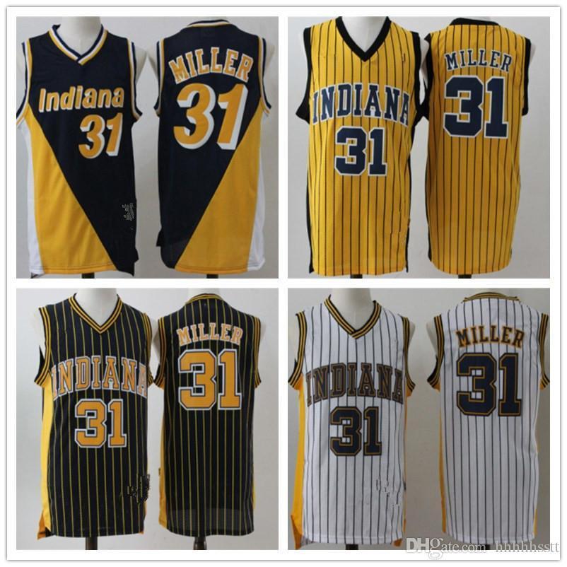 رجل إنديانابيسرزردة ريجي ميلر 31 فيكتور 4 Oladipo كرة السلة السراويل كرة السلة جيرسي الأسود أصفر أزرق أبيض جيد