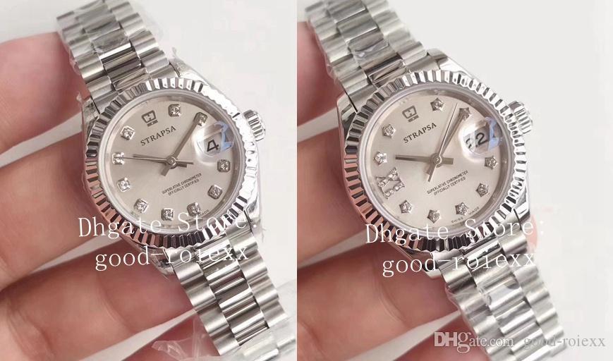 de 28 milímetros Ladys Automatic 2671 Relógios Women Watch Eta 279175 Aço Ladies presidente 279174 Sapphire 279160 Meninas Mulheres Perpetual Relógios de pulso