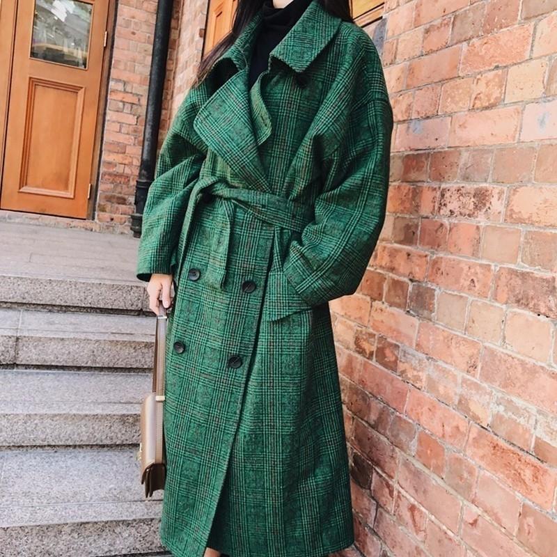 LANMREM 2018 Moda Sonbahar Çift Breasted Notech Casual Gevşek Büyük Boyut Uzun Tip Yeşil Ekose Kadınlar Yün Coat T191023