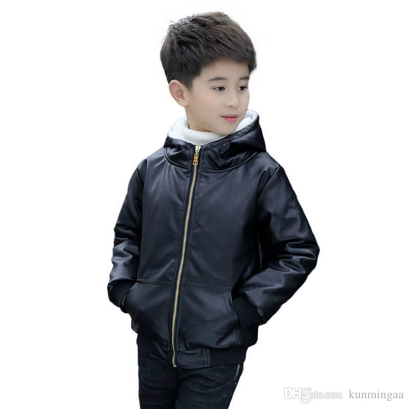 2019 Fashion Autumn Winter Teenage Boys Faux Leather Coat Kids Thick Warm Hooded Zipper Outerwear Jackets Children Clothes