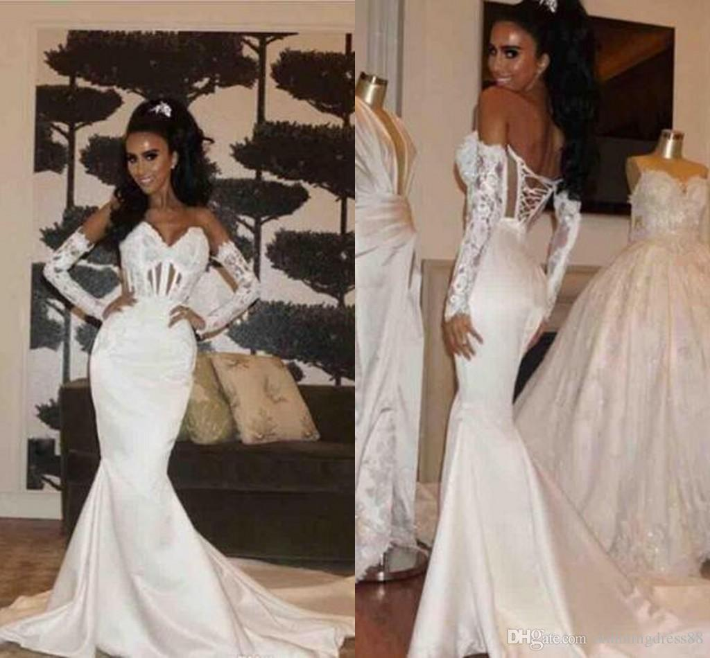Unique Detachable Lace Sleeves Wedding Dresses Bridal Gowns 2020 Mermaid See Through Top Sweetheart Satin Applique Long Wedding Gowns Cheap Cheap Lace Mermaid Wedding Dress Cheap Mermaid Style Wedding Dresses From Stunningdress88