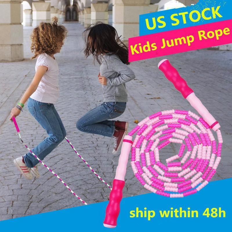 EU Stock frisada Practocal Rope Skipping com anti-derrapante alça leve salto ajustável Corda Corda Aptidão para Adulto Kid ChidrenFY6236