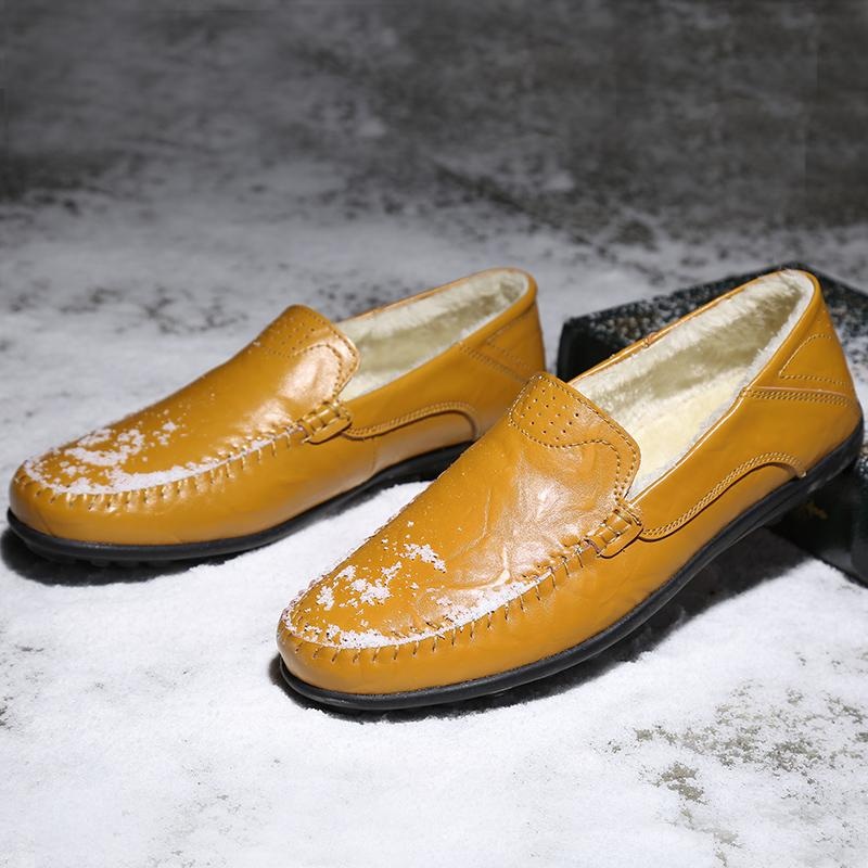 Classic Big Size Young Casual Loafers Shoes Warm Fur Men Slip On Sneakers Winter Pu Loafer Shoes Men Yellow Men Driving Shoes