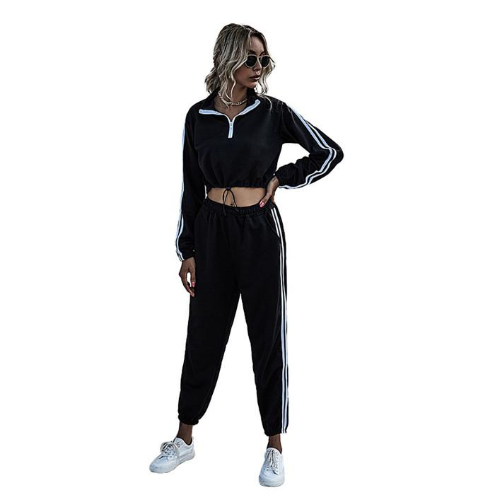 Striped Patchwork Womens Tracksuits Long Sleeve V Neck Hoodies and Casual Sweatpants Autumn Women 2 Piece Outfit Sets